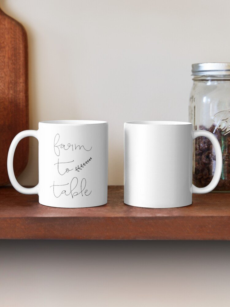 Have your next coffee in style with this Farmhouse Farm To Table Coffee Mug | www.raggedy-bits.com | #raggedybits #coffee #coffeemug #coffeebar #homedecor #farmhouse