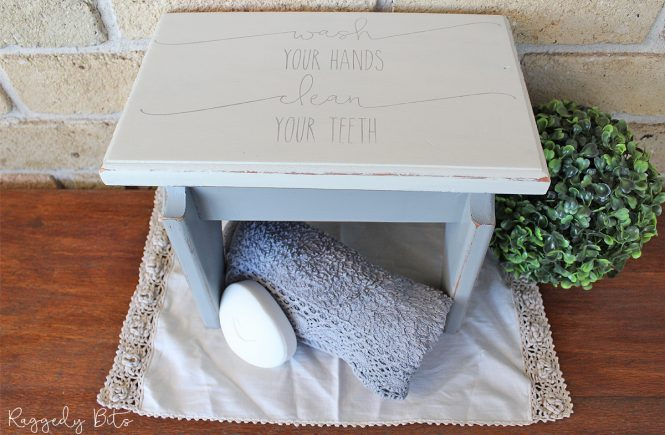 Taking an old stool some Fusion Mineral Paint and a cute bathroom stencil see how I gave this old stool a fresh new look | How To Upcycle A Farmhouse Bathroom Stool | www.raggedy-bits.com | #raggedybits #diy #upcycle #farmhouse #fusionmineralpaint #stencil