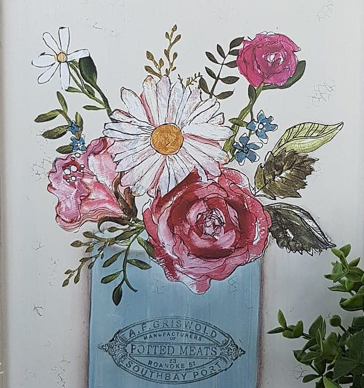 Using some an IOD Decor Transfer, Stamps and Fusion Mineral Paint sharing how to Upcycle A Farmhouse Chalkboard   www.raggedy-bits.com   #raggedybits #diy #farmhouse #chalkboard #fusionmineralpaint #IOD #upcycle