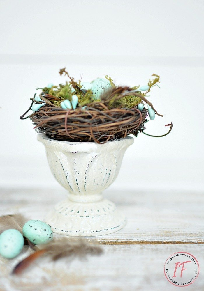 Upcycled Farmhouse Spring Nest on A Decor budget which is a feature for Waste Not Wednesday-201 by Interior Frugalista  | www.raggedy-bits.com