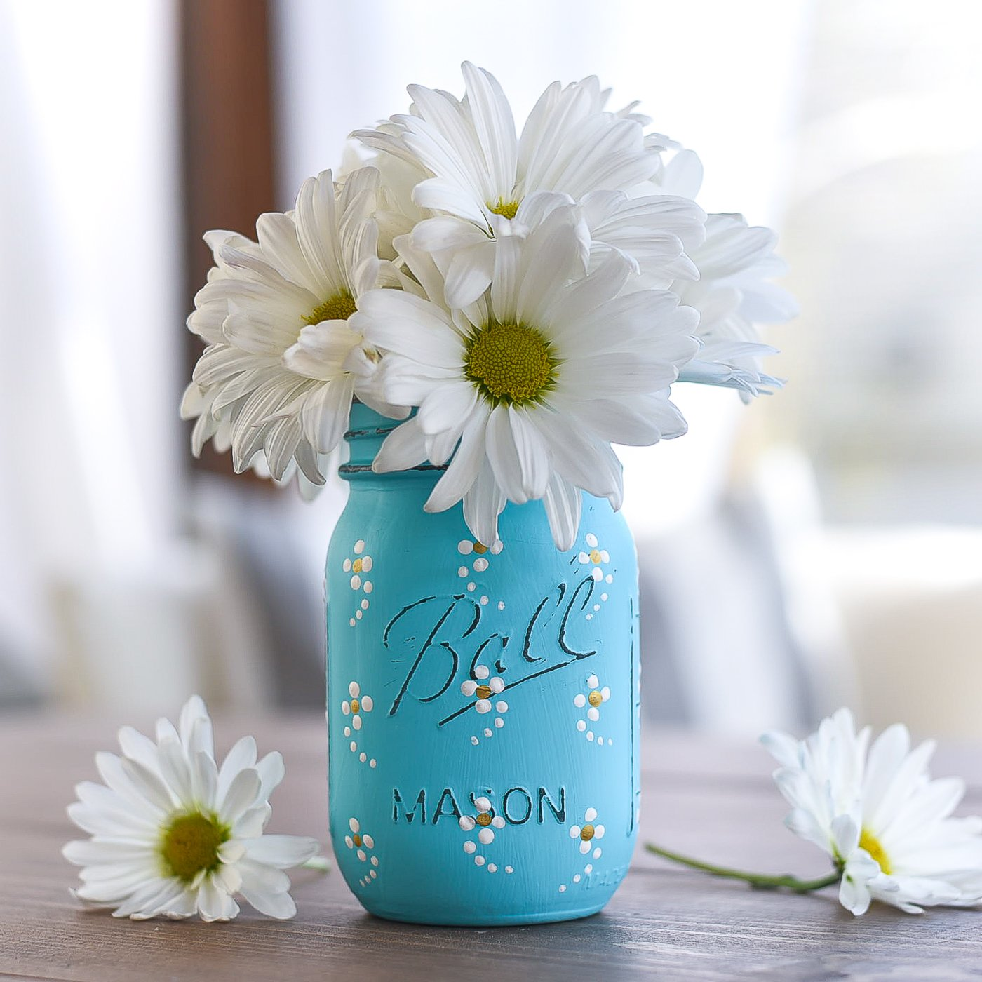 Painted Daisy Mason Jar which is a feature for Waste Not Wednesday-202 by Mason Jar Crafts Love  | www.raggedy-bits.com