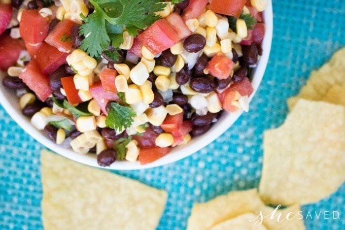 Sweet Corn Salsa which is a feature for Waste Not Wednesday-207 by She Saved   www.raggedy-bits.com
