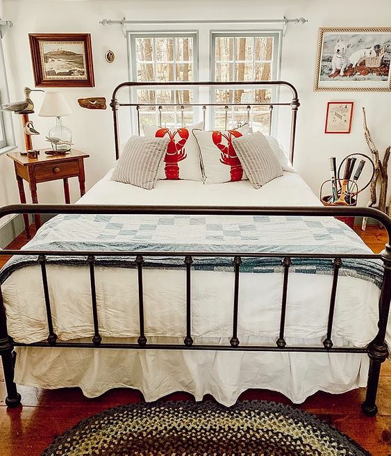 Coastal Cottage Style bedroom which is a feature for Waste Not Wednesday-207 by Dabbling And Decorating | www.raggedy-bits.com