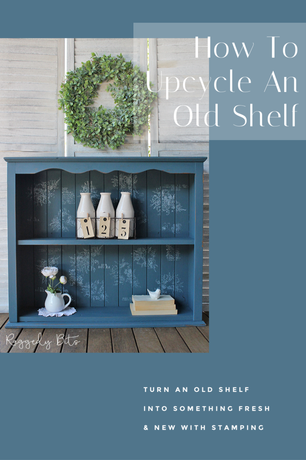 Sharing a fun way to Upcycle an old set of shelves using stamps | How to Upcycle Old Shelves With Stamps | #raggedybits #IODDecorStamps #FusionMineralPaint #Seaside #PaintedFurniture #DIY #upcycle