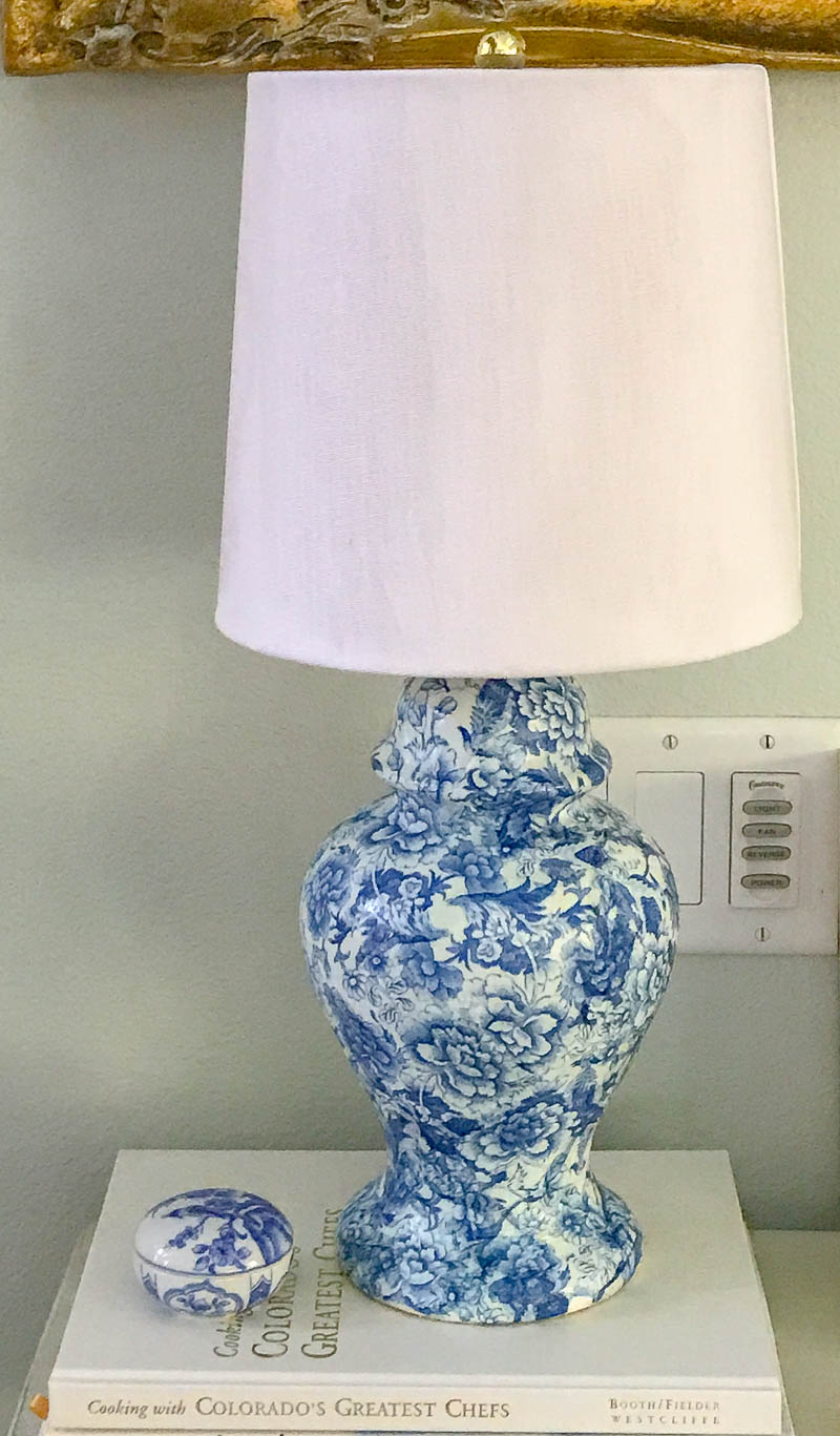 How To Make A Chinoiserie Style Lamp With Decoupage which is a feature for Waste Not Wednesday-209 by Blue Sky At Home   www.raggedy-bits.com