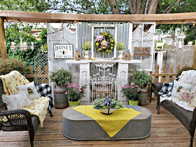 Bee-ing On The Back Porch which is a feature for Waste Not Wednesday-210 by Penny's Vintage Home   www.raggedy-bits.com