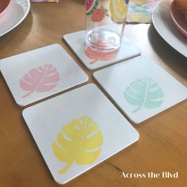 DIY Tropical Coasters which is a feature for Waste Not Wednesday-211 by Across The Boulevard | www.raggedy-bits.com