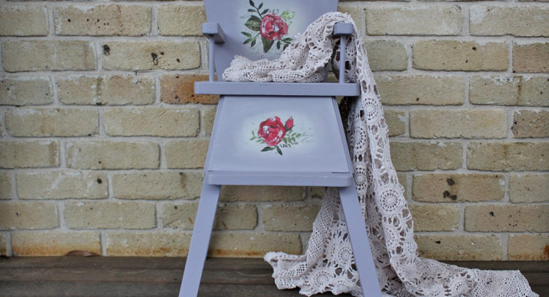 Sharing a fun way to jazz up an old Vintage Dolls Highchair using Fusion Mineral Paint and IOD Decor Transfers and Stamps | How To Upcycle A Vintage Dolls HighChair | www.raggedy-bits.com | #raggedybits #DIY #upcycle #vintage #doll #highchair #fusionmineralpaint #IOD