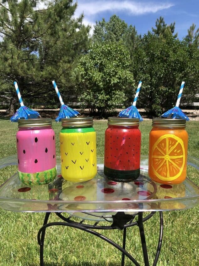 How To Make Mason Jar Fruit Glasses which is a feature for Waste Not Wednesday-216 by Chas' Crazy Designs   www.raggedy-bits.com