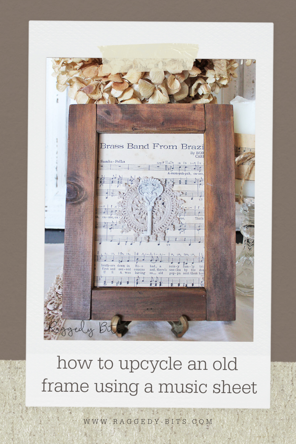 Sharing a fun easy way on how to upcycle an old frame using a music sheet and some air dry clay | www.raggedy-bits.com | #raggedybits #DIY #musicsheet #frame #upcycle #IOD #mould