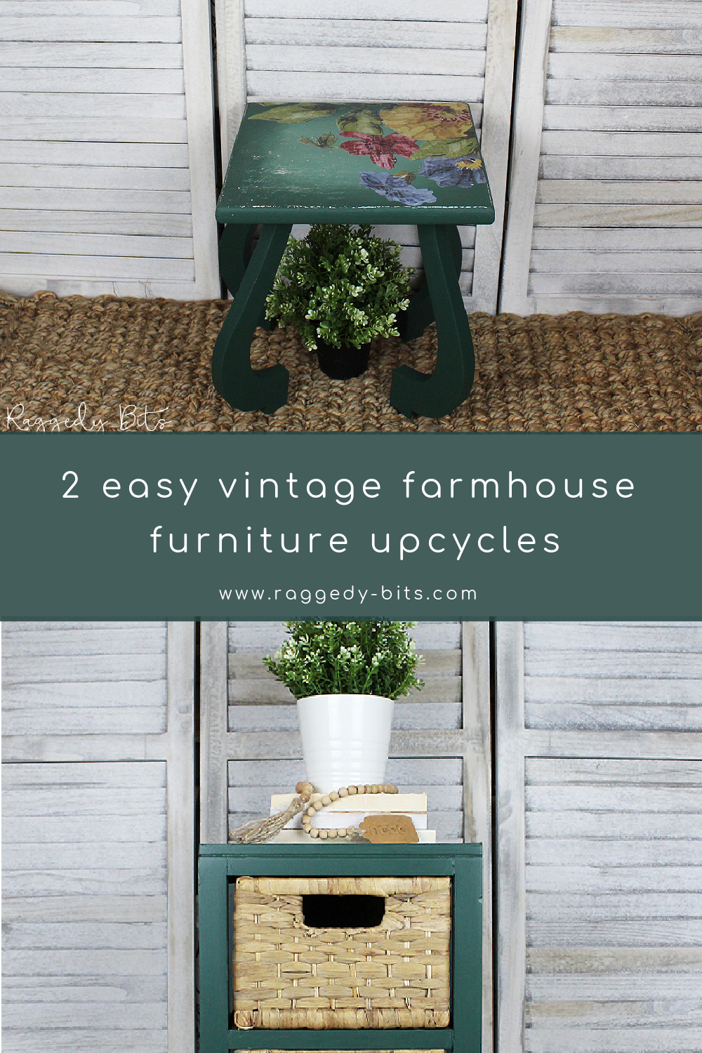 Sharing to easy vintage farmhouse furniture upcycles using Fusion Mineral Paint - Pressed Fern and IOD Stamp Kindest Regard and Decor Transfer Wall Flower | www.raggedy-bits.com | #raggedybits #DIY #paintedfurniture #fusionmineralpaint #pressedfern #IOD #wallflower #kindestreguard #vintage #farmhouse