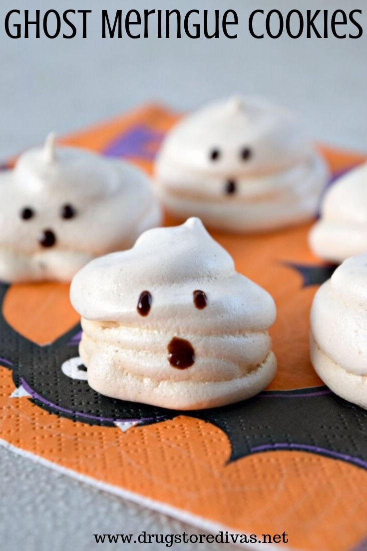 Ghost Meringue Cookies which is a feature for Waste Not Wednesday-227 by Drugstore Divas | www.raggedy-bits.com
