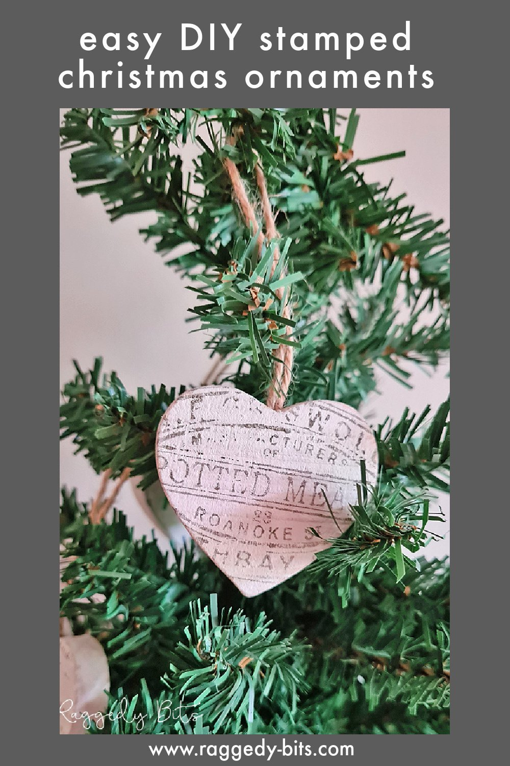 If your stuck for space or run out of time to set up your Christmas Tree, here is how to Make An Easy Farmhouse Table Top Christmas Tree using IOD Decor Stamp Crockery | www.raggedy-bits.com #raggedybits #DIY #christmastree #stamped #crockery #decoration #tabletoptree