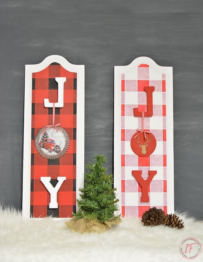 Repurposed Cabinet Door Christmas Signs which is a feature for Waste Not Wednesday-231 by Interior Frugalista   www.raggedy-bits.com