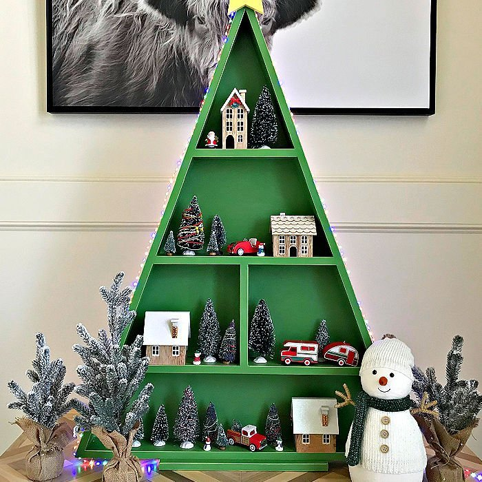 DIY Wood Christmas Tree Shelf which is a feature for Waste Not Wednesday- 2020 Christmas Edition by Abbotts At Home| www.raggedy-bits.com