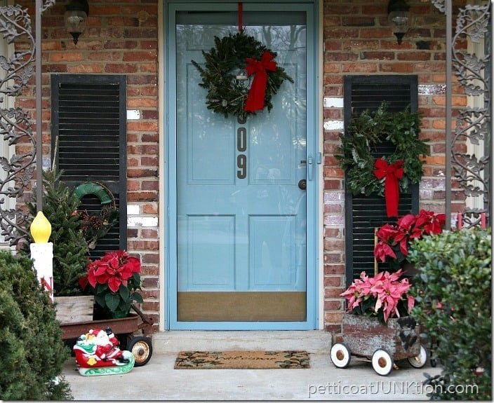 Junkiest Vintage Eclectic Christmas Porch which is a feature for Waste Not Wednesday-233 by Petticoat Junktion | www.raggedy-bits.com