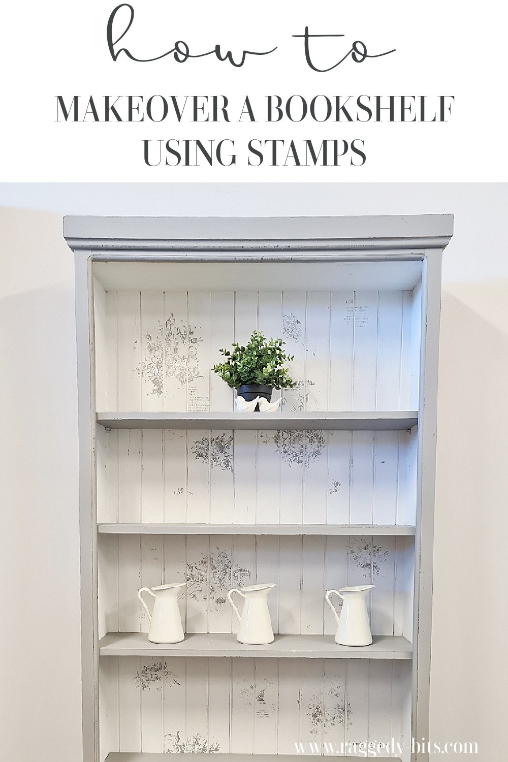 Taking a boring old brown bookcase, some Fusion Mineral Paint and IOD Stamps I'm sharing how you too can makeover a Vintage Farmhouse Bookshelf using Stamps | www.raggedy-bits.com| #ragggedybits #DIY #paintedfurniture #fusionmineralpaint #IOD #repurpose #upcycle