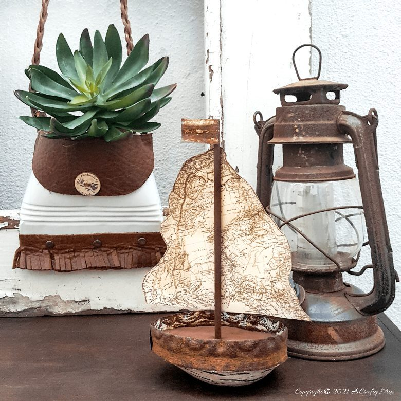DIY Rustic Avocado Sailboat which is part of this months Int'l Bloggers Club Projects by A Crafty Mix | www.raggedy-bits.com