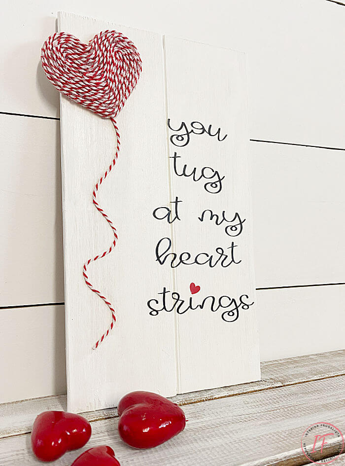 Easy Valentines Day Scrap Wood Sign which is a feature for Waste Not Wednesday-242 by Interior Frugalista   www.raggedy-bits.com