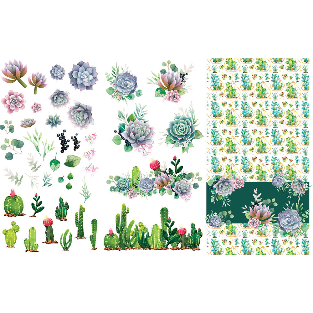 Belles & Whistles Decor Transfer - Cacti & Succulents   www.raggedy-bitgs.com   #raggedybits #decortransfer #DIY #Belles&Whistles #Cacti&Succulents