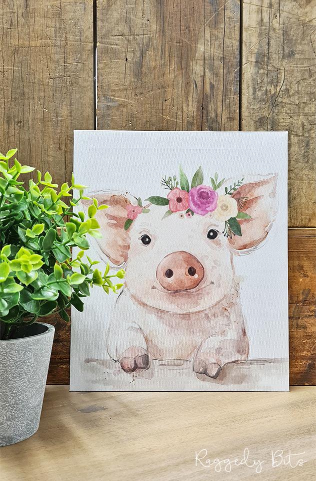 Farmhouse Floral Crown Pig Canvas   www.raggedy-bits.com   #raggedybits #vintage #rustic #faux #pig #flowercrown #homedecor #farmhouse