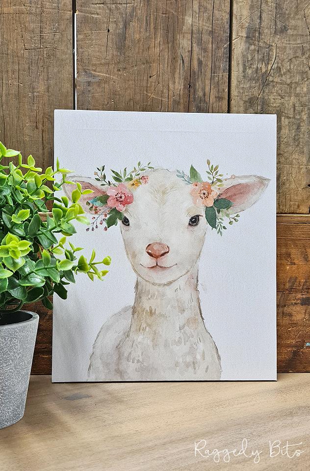 Farmhouse Floral Crown Sheep Canvas   www.raggedy-bits.com   #raggedybits #vintage #rustic #faux #sheep #flowercrown #homedecor #farmhouse