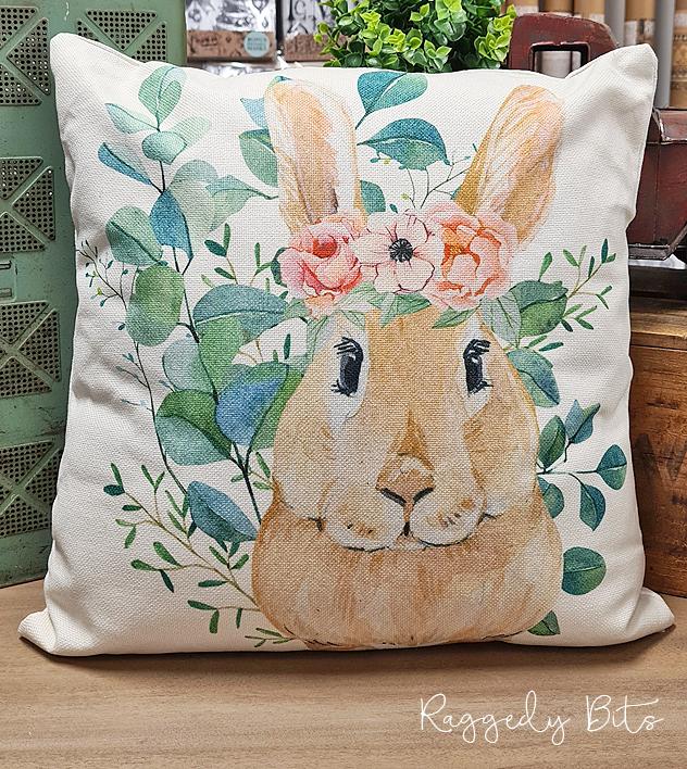 Farmhouse Flower Crown Bunny Cushion | www.raggedy-bits.com | #raggedybits #vintage #rustic #cushion #bunny #flowercrown #homedecor #farmhouse