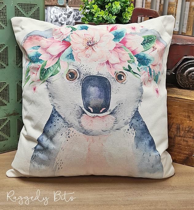 Farmhouse Flower Crown Koala Cushion   www.raggedy-bits.com   #raggedybits #vintage #rustic #cushion #koala #flowercrown #homedecor #farmhouse