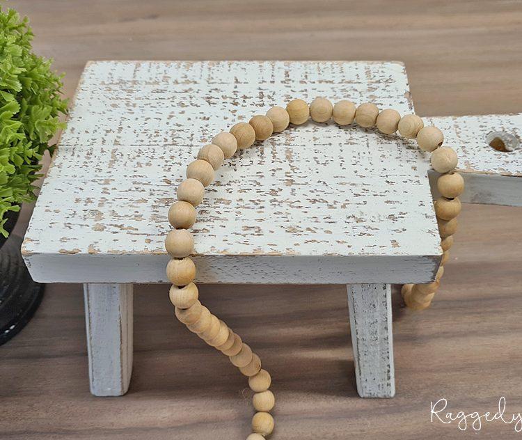 Farmhouse Wooden Table Riser | www.raggedy-bits.com | #raggedybits #riser #rustic #white #homedecor #farmhouse