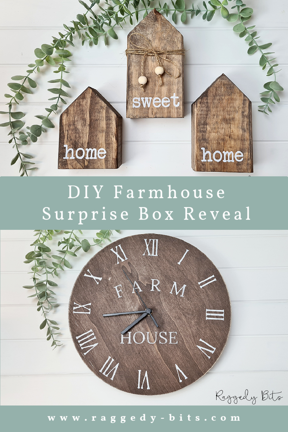 It's that fun time of the month for our DIY Farmhouse Surprise Box Reveal. Come and see what our creatives have been busy creating this month | www.raggedy-bits.com | #raggedybits #diy #surprise #box #farmhouse #fusionmineralpaint