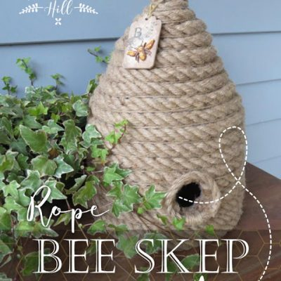 How To Make A Rope Bee Skep which is a feature for Waste Not Wednesday-246 by Home On The Hill | www.raggedy-bits.com