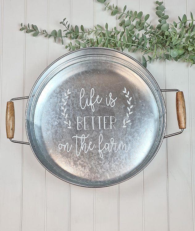 Farmhouse Life is Better On The Farm Galvanised Tray | www.raggedy-bits.com #raggedybits #farmhouse #sign #galvanisedtray #handmade