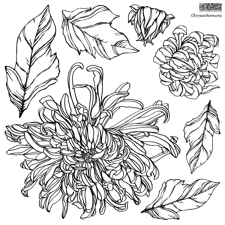 Have fun adding texture to your projects with these fun Iron Orchid Designs - Chrysanthemums  www.raggedy-bits.com   #raggedybits #IOD #DecorStamps #Chrysanthemums #texture