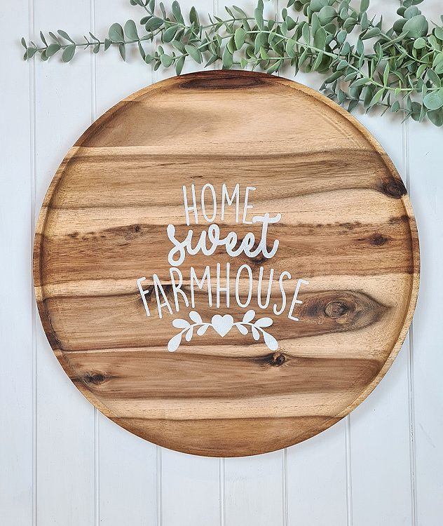 Wooden Home Sweet Farmhouse Tray | www.raggedy-bits.com #raggedybits #farmhouse #sign #woodentray #handmade