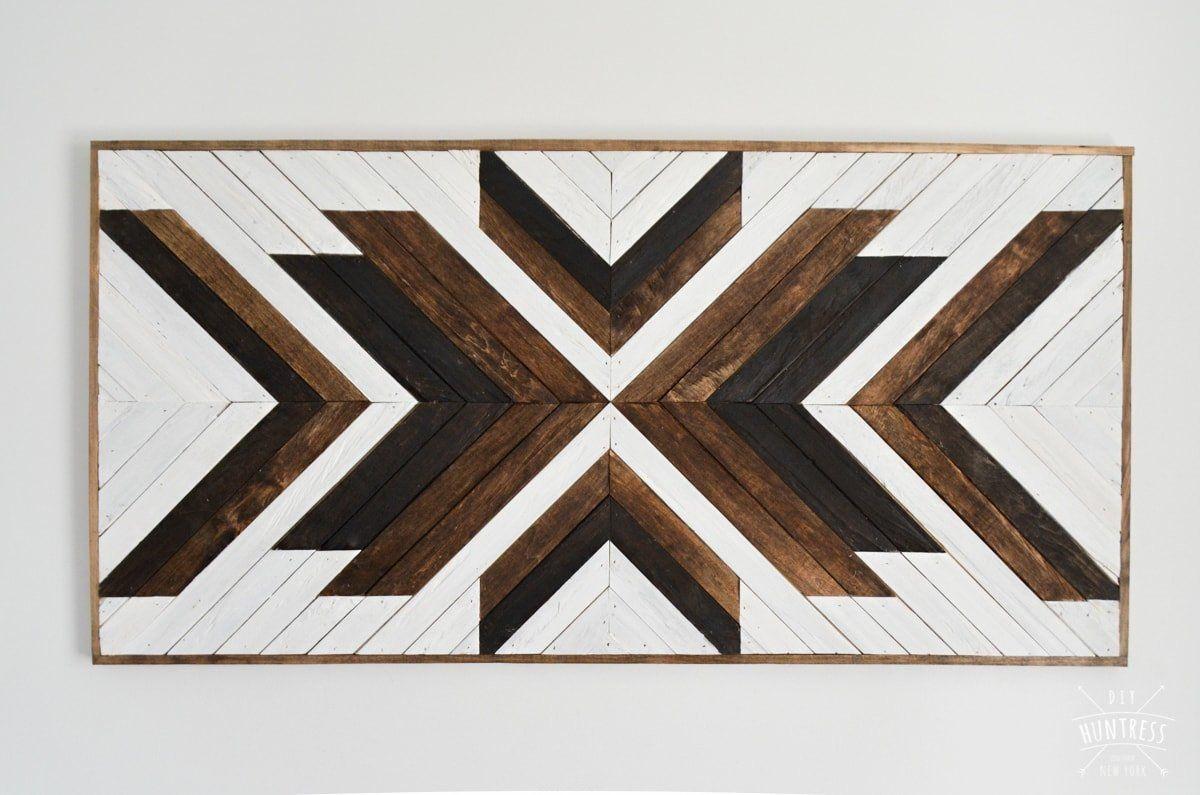 DIY Geometric Wood Art Piece  | www.raggedy-bits.com | #raggedybits #diy #antique #breadboard #farmhouse #vintage #repurpose #upcycle #diyhuntress