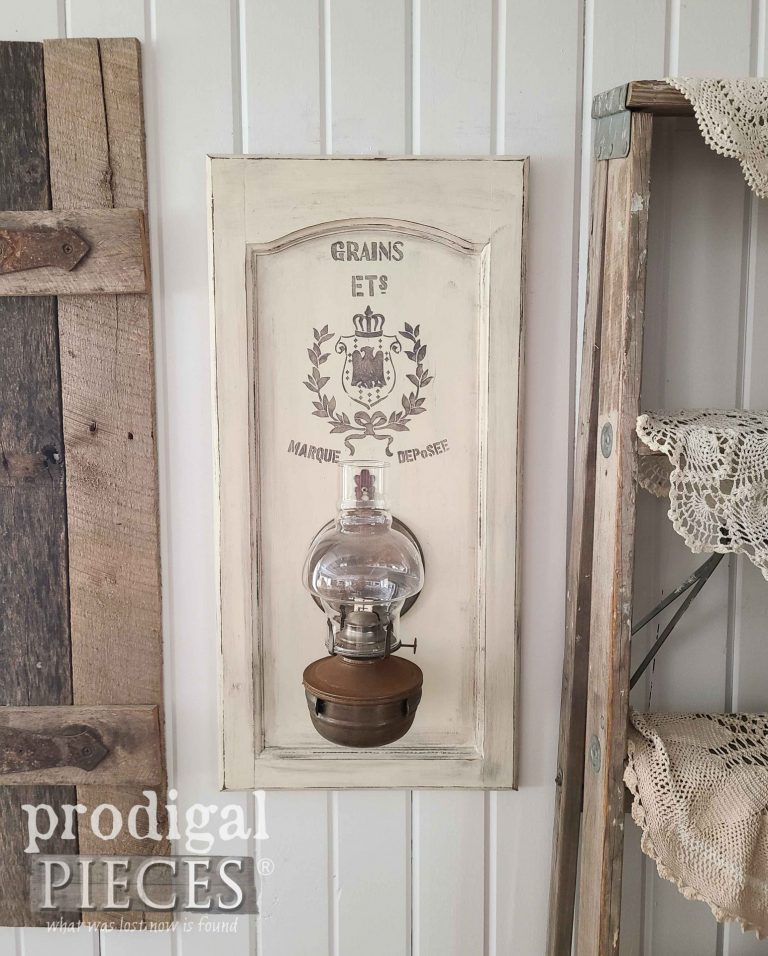 Farmhouse Oil Lamp Wall Art - Prodigal Pieces  | www.raggedy-bits.com | #raggedybits #diy #antique #breadboard #farmhouse #vintage #repurpose #upcycle #prodigalpieces