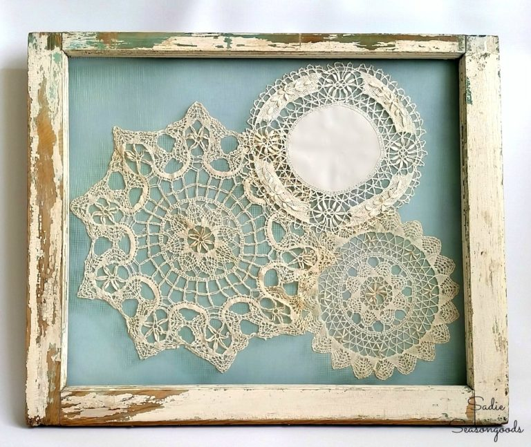 Framed Doilies as Shabby Chic Wall Decor in An Old Frame  | www.raggedy-bits.com | #raggedybits #diy #antique #breadboard #farmhouse #vintage #repurpose #upcycle #sadiegoodseasons