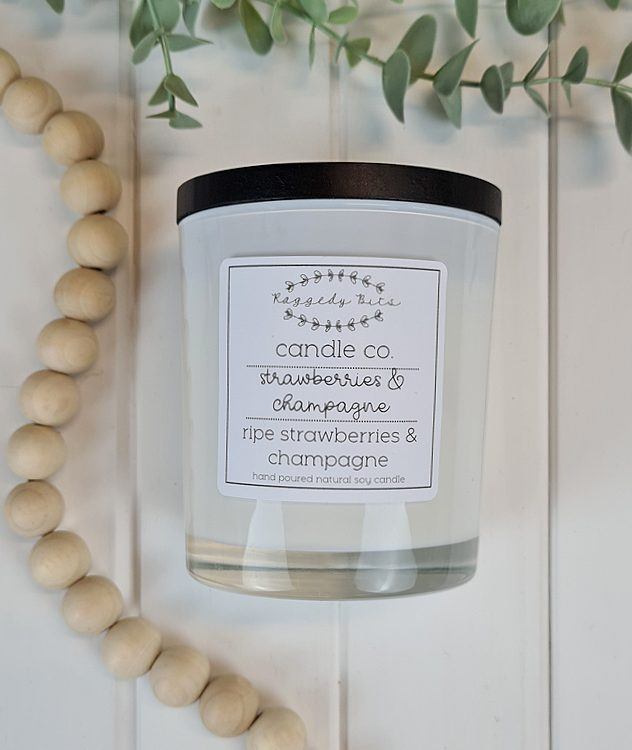 Raggedy Bits Candle Co - Strawberries & Champagne | www.raggedy-bits.com | #raggedybits #candles #homedecor #strawberries&champagne