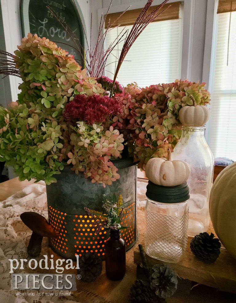 Farmhouse Tablescape using Buckets - Prodigal Pieces  | www.raggedy-bits.com | #raggedybits #diy #antique #breadboard #farmhouse #vintage #repurpose #upcycle #prodigalpieces