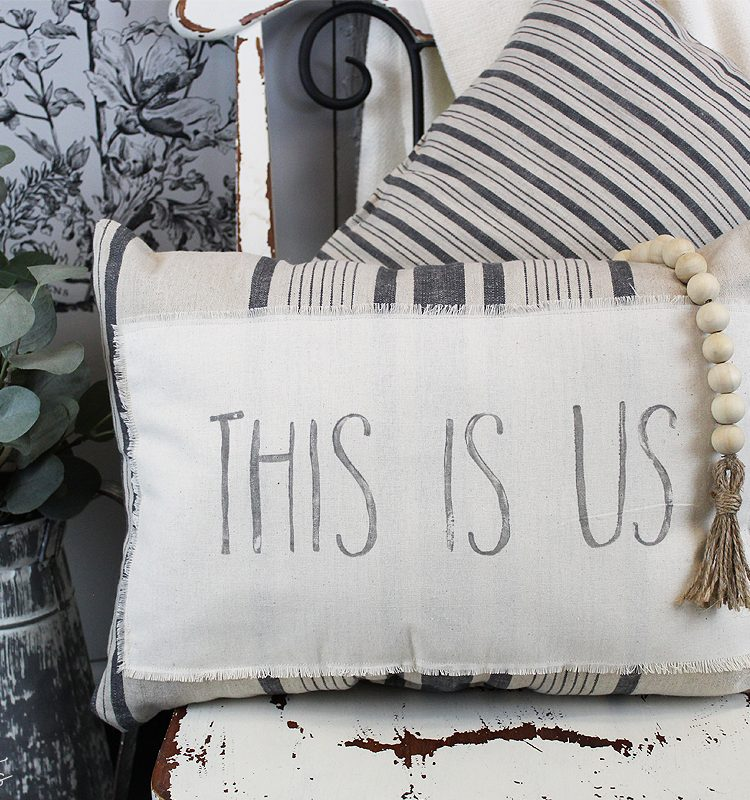For this week's Waste Not Wednesday it's all about sewing. Sharing a fun ikea hack using some tea towels and the IOD Decor Stamp - Farmhand   www.raggedy-bits.com   #raggedybits #diy #ikeahack #farmhouse#stamped #IOD #farmhandstamp #repurpose