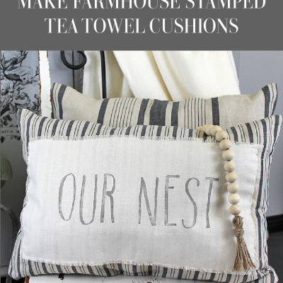 For this week's Waste Not Wednesday it's all about sewing. Sharing a fun ikea hack using some tea towels and the IOD Decor Stamp - Farmhand | www.raggedy-bits.com | #raggedybits #diy #ikeahack #farmhouse#stamped #IOD #farmhandstamp #repurpose