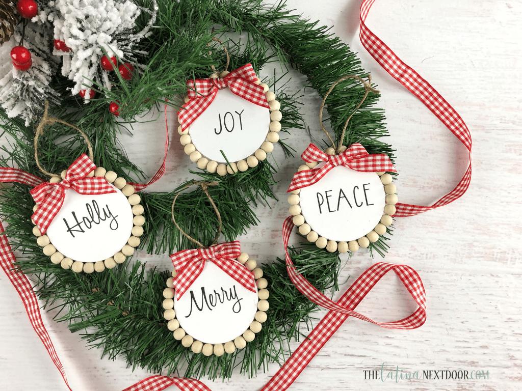 Dollar Tree Farmhouse Christmas Ornaments | www.raggedy-bits.com | #raggedybits #diy #christmas #farmhouse #vintage #repurpose #upcycle #thelatinanextdoor