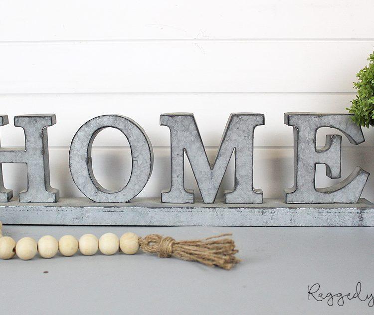 Farmhouse Home Metal Sign | www.raggedy-bits.com | #raggedybits #metalsign #shelfsitter #farmhouse #homesign