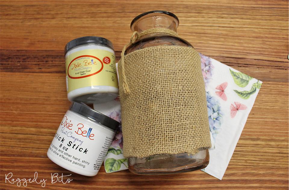 How to decoupage a glass jar | www.raggedy-bits.com | #raggedybits #diy #decoupage #napkin #vintage #farmhouse