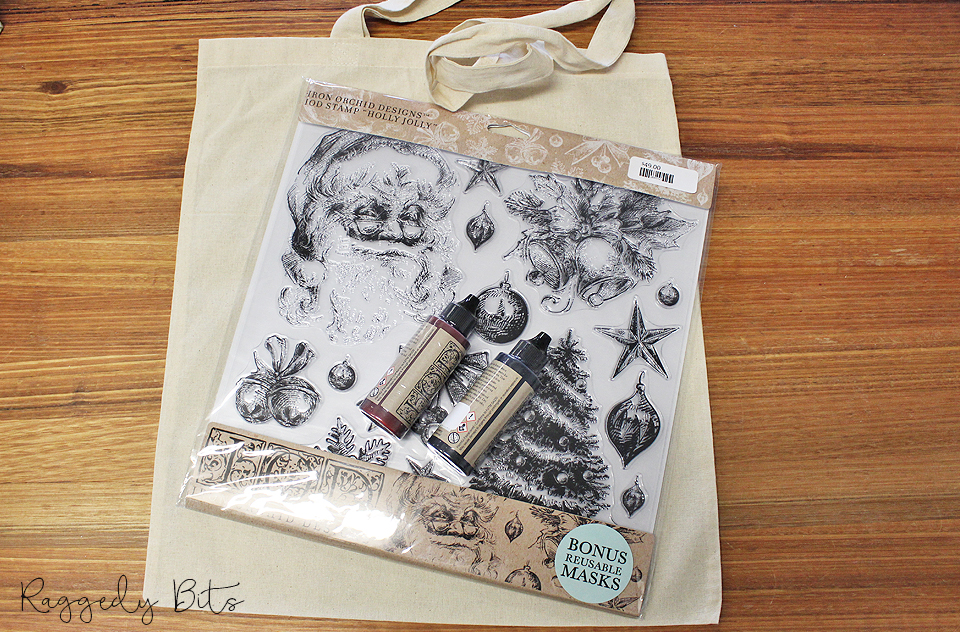 Sharing a fun way on how to make a Christmas Vintage Farmhouse Stamped Santa Bag | www.raggedy-bits.com | #raggedybits #diy #santabag #santa #vintage #farmhouse #hollyjollystamp #IOD