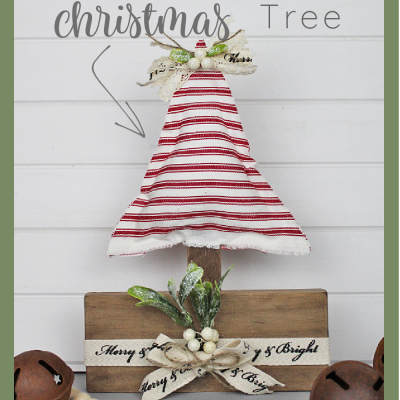 Sharing a super easy now sew Wooden Stand Farmhouse Christmas Tree using scrap wood | www.raggedy-bits.com | #raggedybits #diy #christmas #tree #farmhouse #fabric #nosew