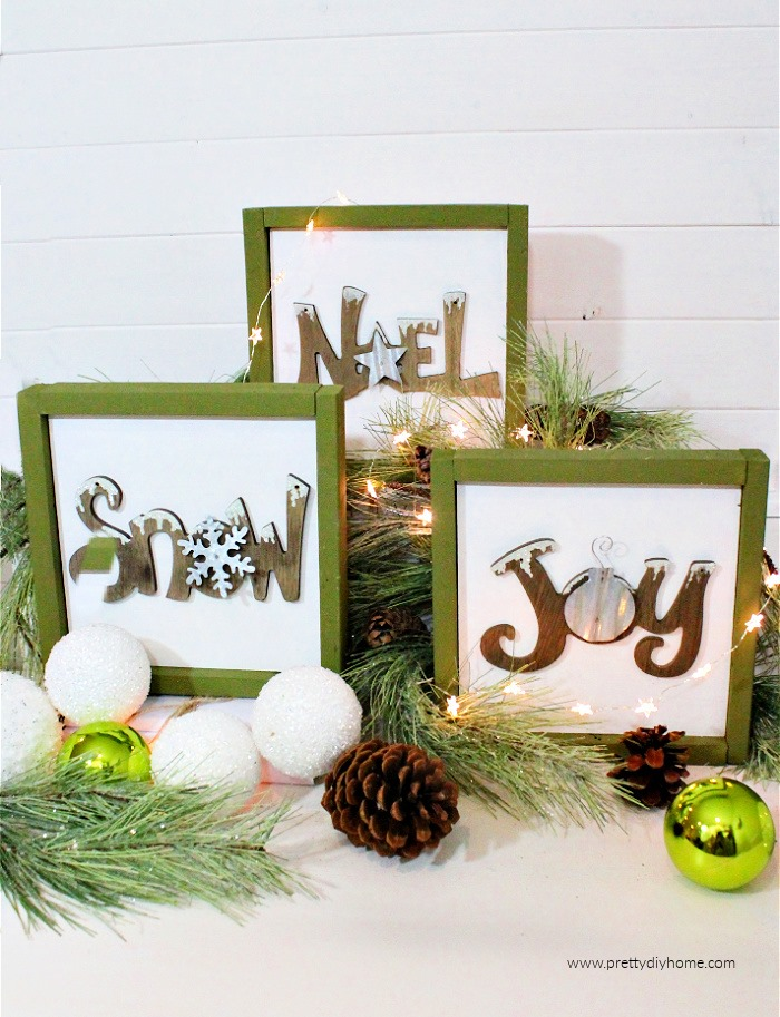 DIY Farmhouse Christmas Sign From Upcycled Ornaments  | www.raggedy-bits.com | #raggedybits #diy #christmasinjuly #farmhouse #vintage #repurpose #upcycle #prettydiyhome