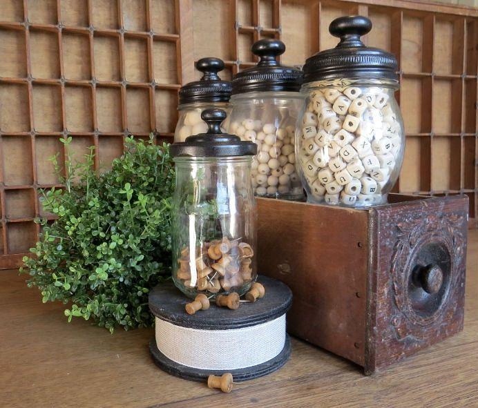 Upcycled Jars  | www.raggedy-bits.com | #raggedybits #diy #glassjar #farmhouse #vintage #repurpose #upcycle #homeonthehill