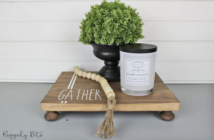Using some scrap wood and Dixie Belle Voodoo Gel Stain Tobacco Road along with some pine drawer handles you can follow along and make your very own Wooden Farmhouse Table Riser | www.raggedy-bits.com | #raggedybits #DIY #tableriser #farmhouse #tobacooroad