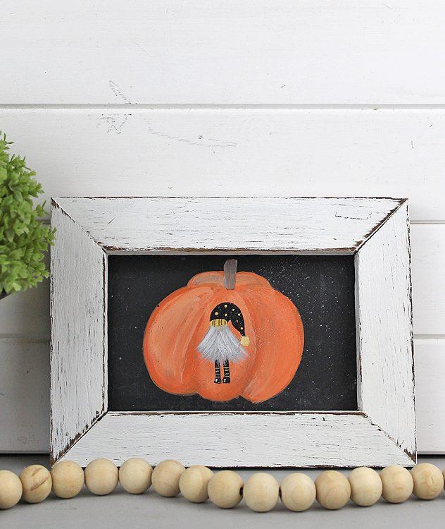 Halloween Hand painted Pumpkin Gnome Sign | www.raggedy-bits.com